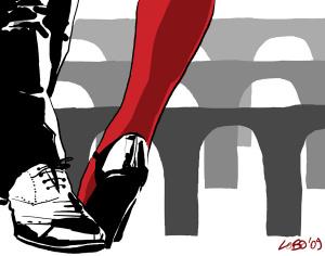 Il tango nella corte (illustrazione di Giuseppe Lo Bocchiaro)