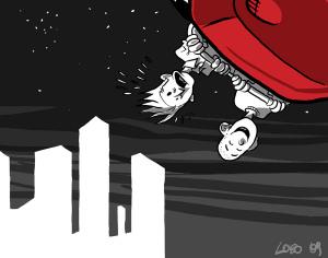 Otto volante (illustrazione di Giuseppe Lo Bocchiaro)
