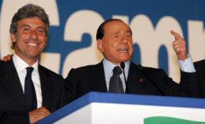 Silvio Berlusconi e Diego Cammarata al Palasport di Palermo