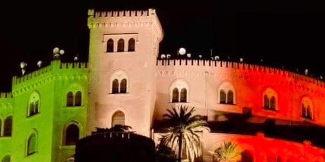 Castello Utveggio illuminato dal tricolore