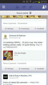 Il Comune di Palermo e One Epic Knight - facebook