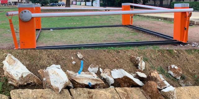 Installazione a piazza Magione, rinforzata dopo vandalismi ma ci sono materiali di risulta