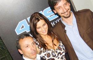 Giuseppe Giglio, Manuela Arcuri e Tony Siino alla presentazione della collezione 4US di Cesare Paciotti