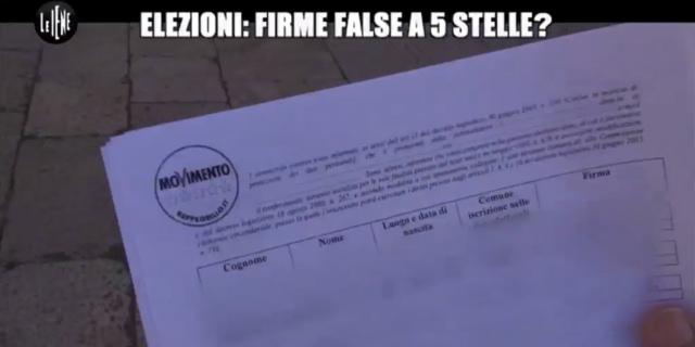 A Le Iene le firme del 2012 della lista del MoVimento 5 stelle, sono state ricopiate?