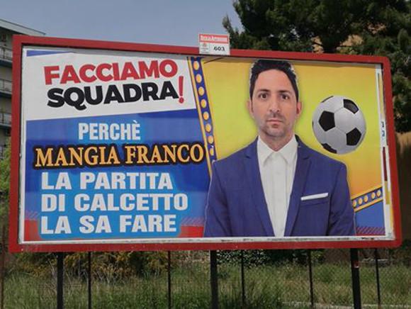 I cartelloni satirici di Mangia Franco prendono in giro i candidati a sindaco