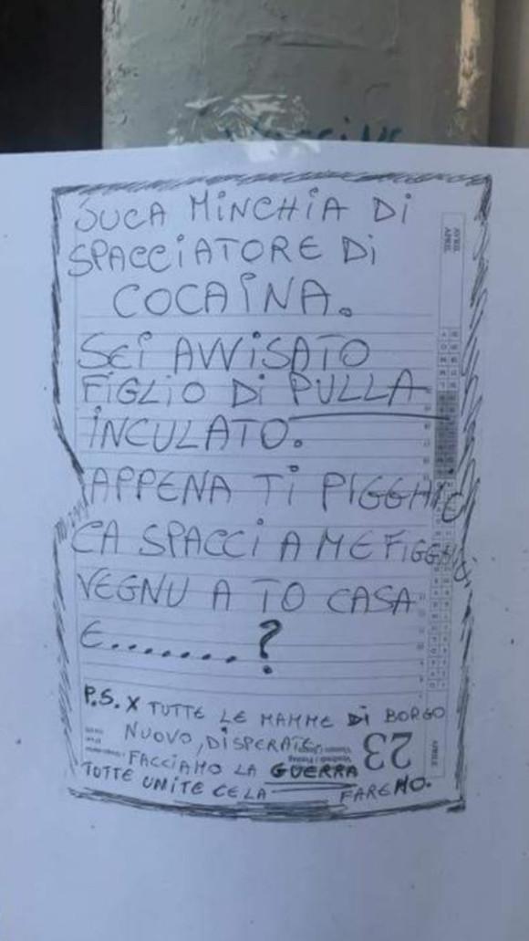 Cartello droga Borgo Nuovo