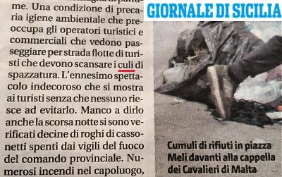 """Emergenza rifiuti e """"culi di spazzatura"""" secondo il Giornale di Sicilia"""