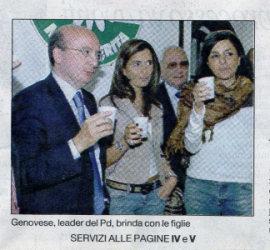 """Genovese, leader del Pd, brinda con le """"figlie"""""""