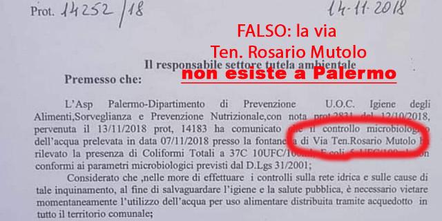 Falso allarme per acqua contaminata a Palermo