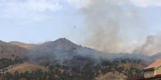Incendio in corso a Bellolampo