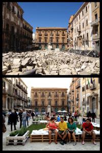 Piazza Bologni, prima e dopo