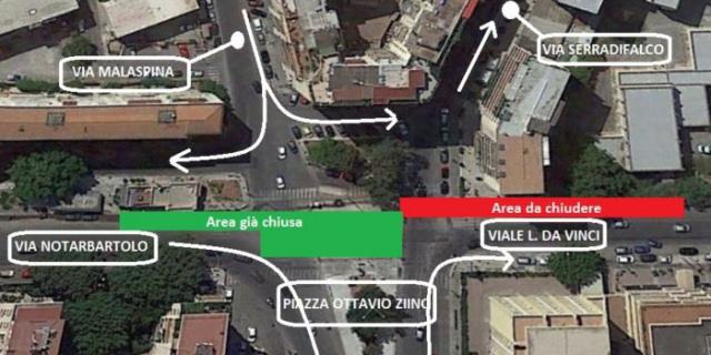Tram: chiude piazza Ottavio Ziino