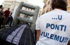 Manifestazione per il ponte di Messina a Roma