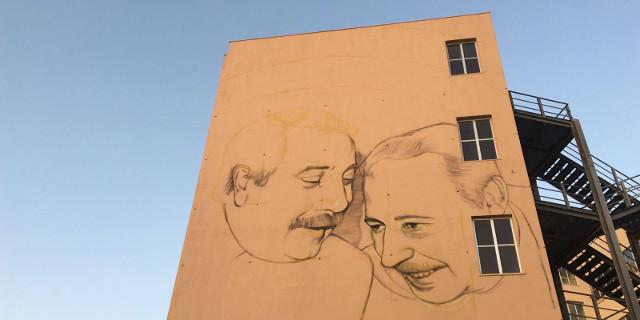 Alla Cala in realizzazione il murales di Rosk & Loste per Falcone e Borsellino