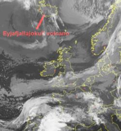 Nube del vulcano Eyjafjallajökull - immagine Sat24