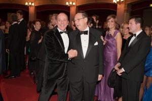 La festa per Di Meo al Teatro Politeama - Generoso Di Meo con Gioacchino Lanza Tomasi