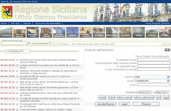 Il (fu) Ufficio stampa della Presidenza della Regione Siciliana habla español