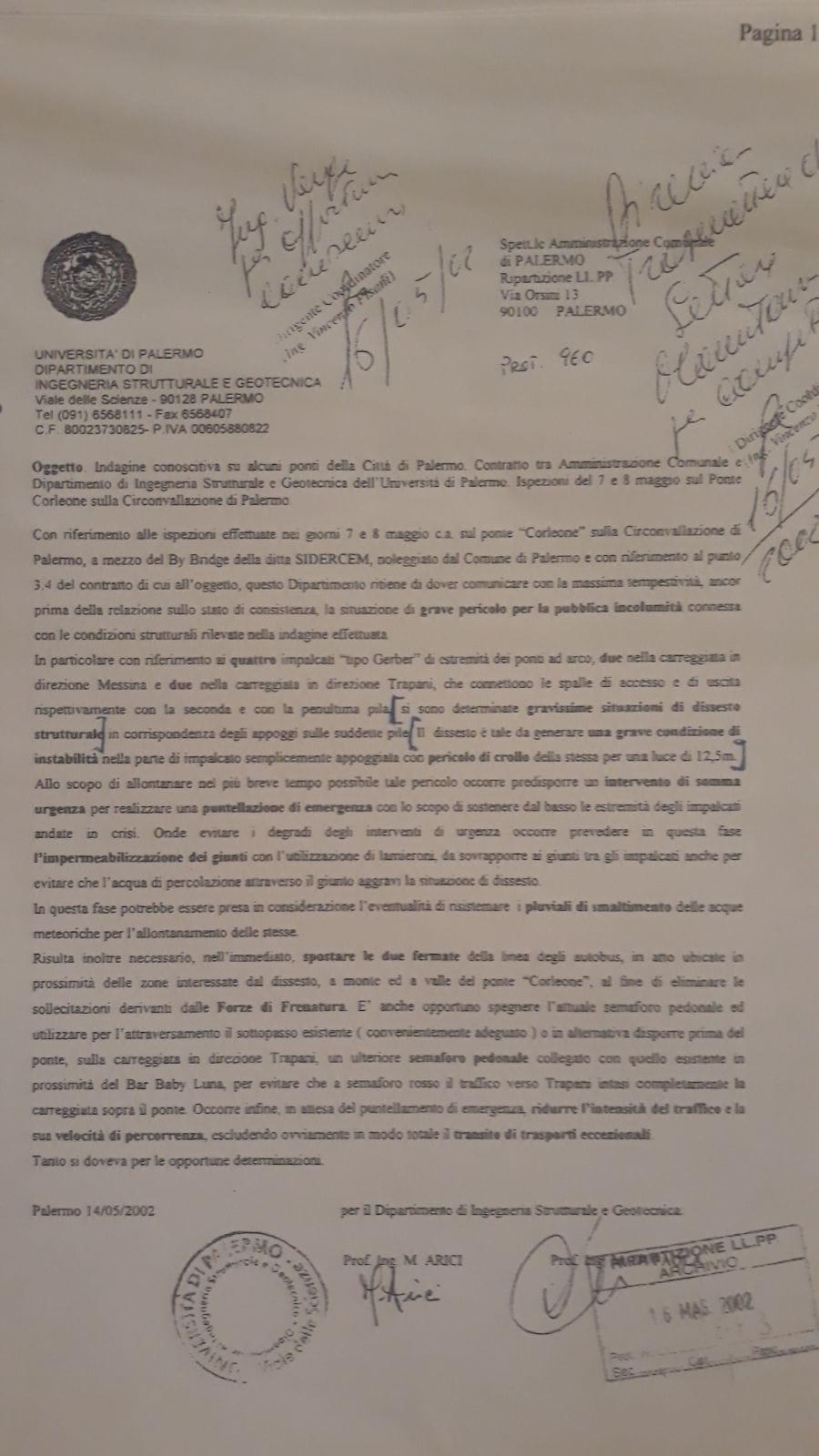 """Ponte Corleone, la relazione tecnica che nel 2002 parlava di """"pericolo di crollo"""""""