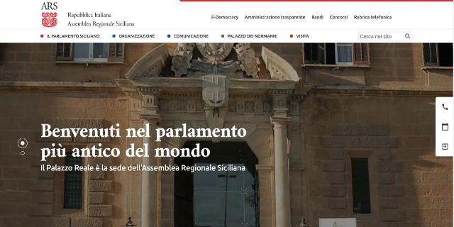Restyling per il sito dell'Assemblea Regionale Siciliana, attivati i social media
