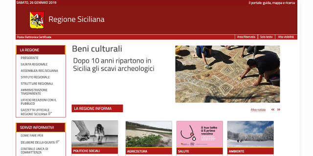 Restyling per il sito della Regione Siciliana, attivati i social media