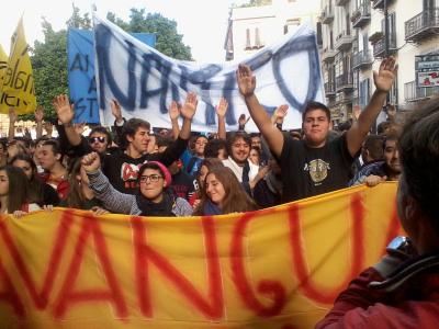 Manifestazioni della Fiom, degli studenti e dei dipendenti delle Poste