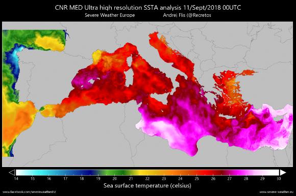 Cartina temperatura Mediterraneo (settembre 2018)