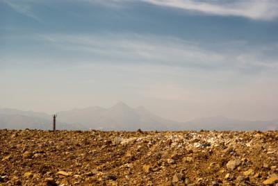 """Vista """"marziana"""" con Monte Cuccio sullo sfondo"""
